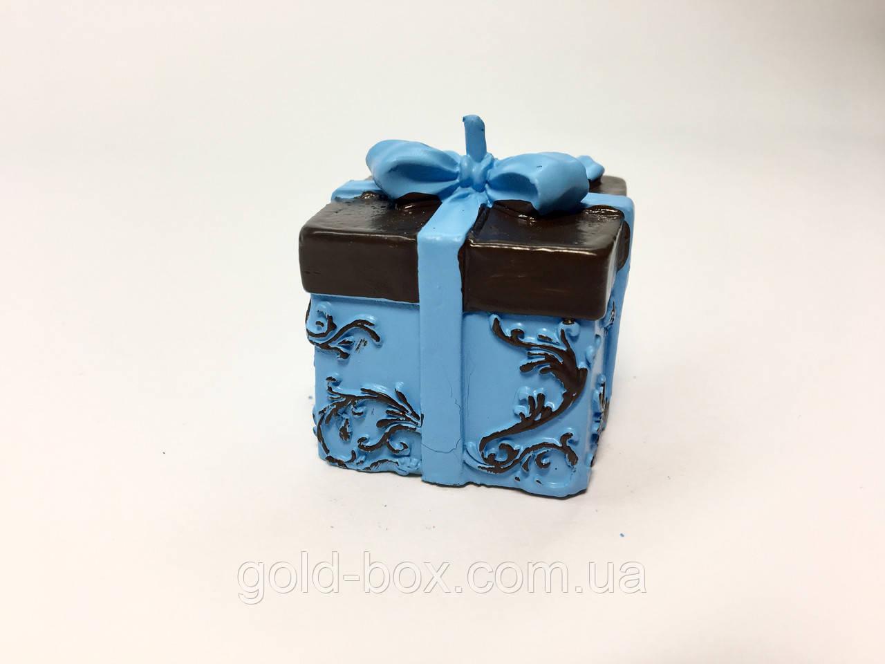 Свеча детская «подарок голубой» декоративная