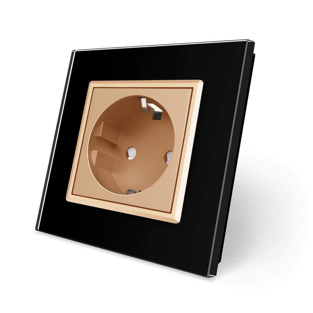 Розетка с заземлением Livolo, черная рамка, золотой механизм (VL-C7C1EU-12/13)