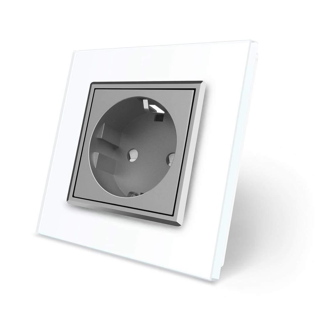 Розетка с заземлением Livolo, белая рамка, серый механизм (VL-C7C1EU-11/15)