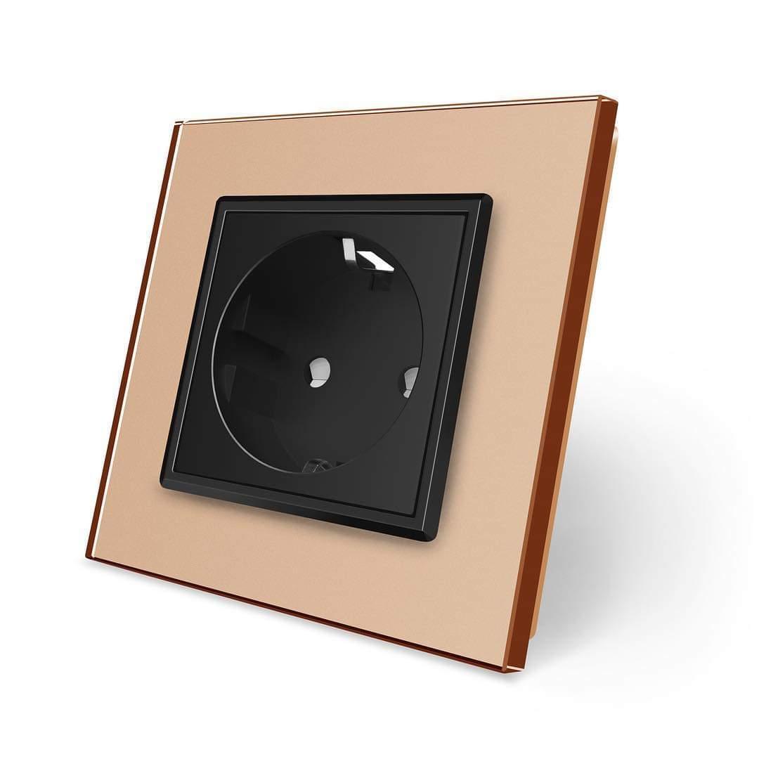 Розетка с заземлением Livolo золото черный стекло (VL-C7C1EU-13/12)