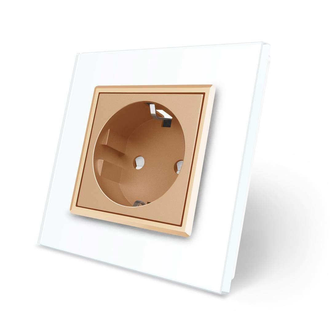 Розетка с заземлением Livolo белый золото стекло (VL-C7C1EU-11/13)