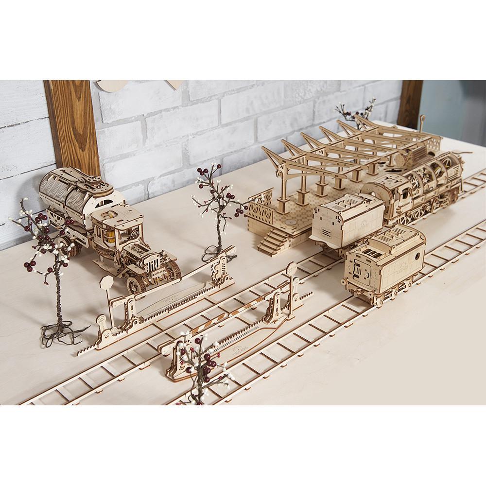 Механічний 3D-пазл UGEARS Рейки з переїздом, для розвитку дітей