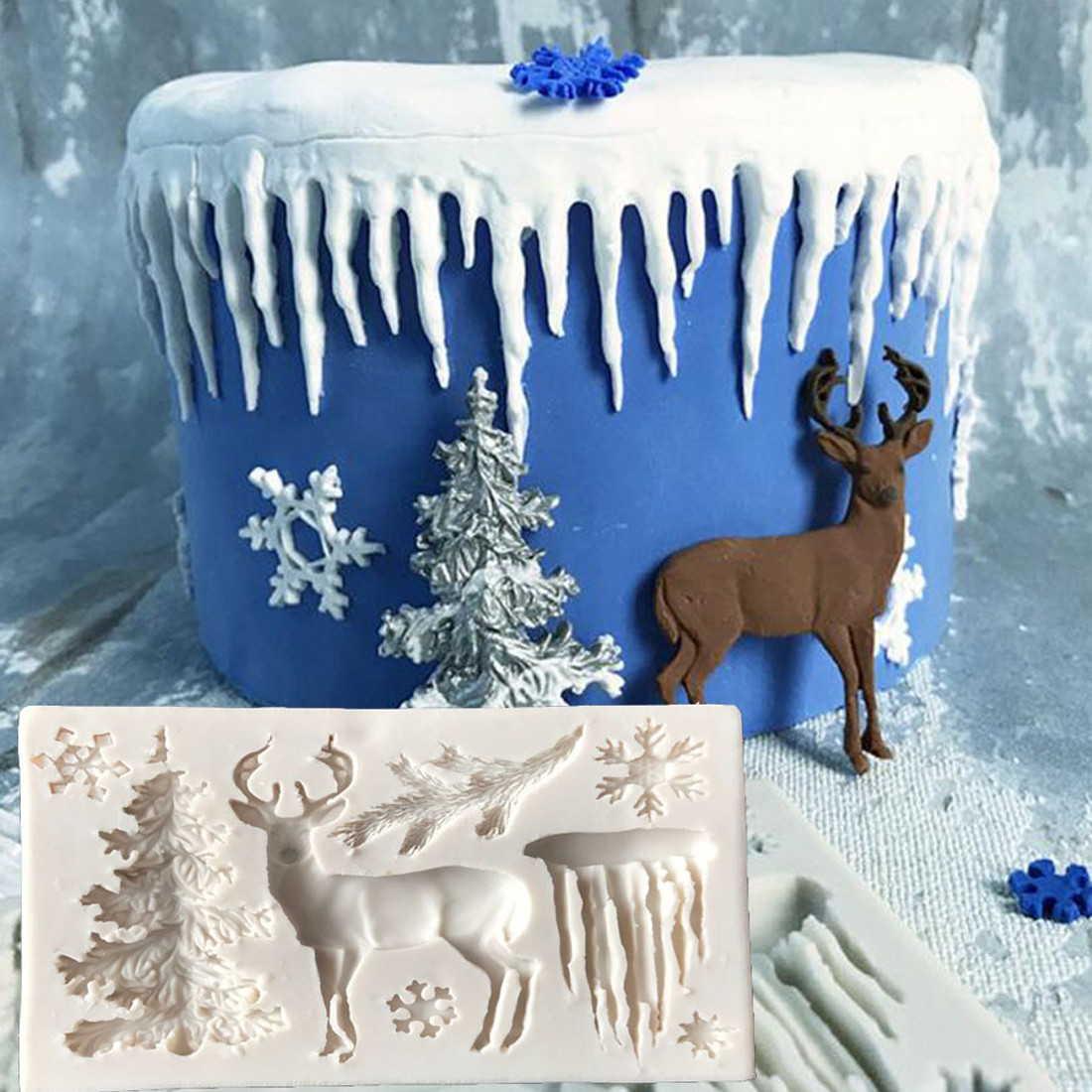 """Молд """"Зима"""" Winter для глины,смолы,пластиков, шоколада,мастики,карамели,льда"""