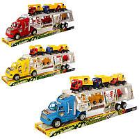 Трейлер 8352-17 інерційний, будтехніка 5 машин, 3 кольори, в блістері, 52-17,5-9,5 см