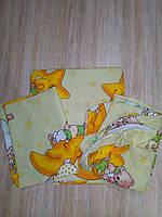 """Набор постельного белья в детскую кроватку (3 предмета) """"Мишки спят"""" желтый"""