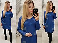 Платье туника женская с декором в виде квадрата кашемир, фото 1