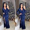 Платье велюровое макси с открытым декольте и разрезом 3 цвета SMol907