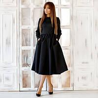 Стильное женское роскошное платье из габардина