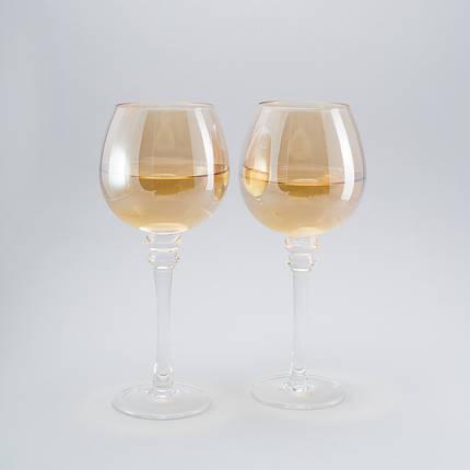 Комплект бокалов для вина с блеском 2ед по 400 мл бокалы, фото 2
