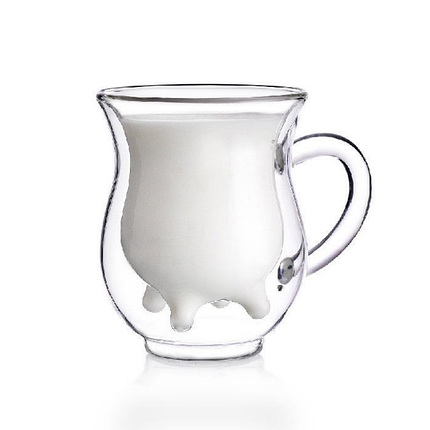 Комплект молочники чашки с двойным дном 2 шт 240 мл чашка для молока молочник двойные стенки, фото 2