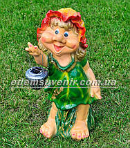 Садовая фигура Гном с мухоморами, Малышка, Кнопочка с фонарем, фото 3