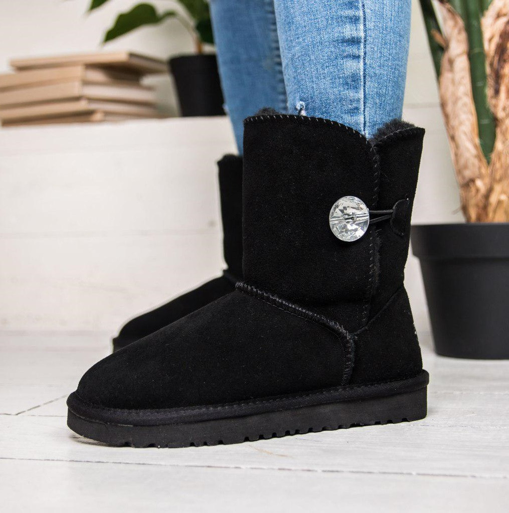 Австралийские угги UGG Australia Bailey Button Bling black. Живое фото. (Реплика ААА+)