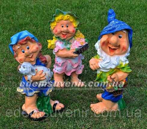 Садовая фигура Гном с фруктами, Незабудка и Синеглазка, фото 2