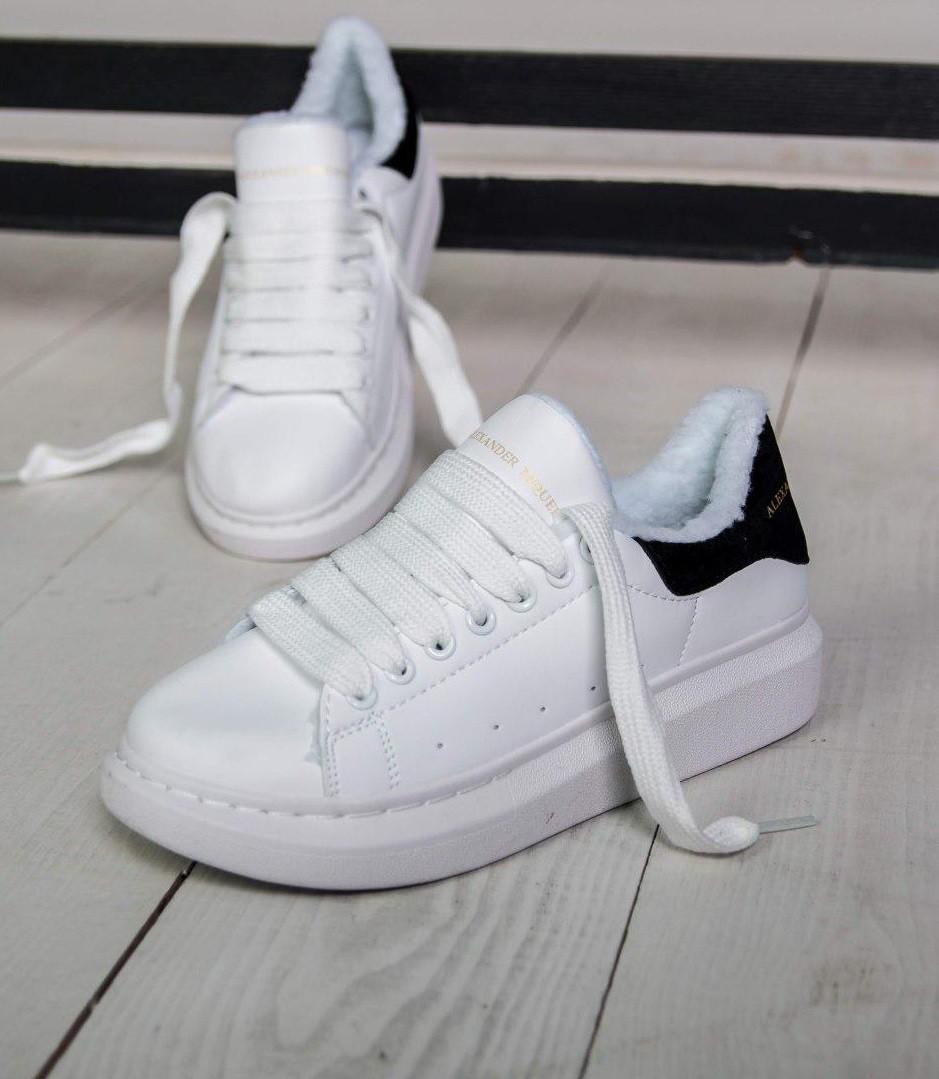 Женские зимние кроссовки Adidas Alexander McQueen Oversized Sneaker white  blackFUR. Живое фото (Реплика ААА 8a57690d10f0a