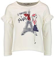 Белый реглан Lc Waikiki / Лс Вайкики с надписью Paris, c Эйфелевой башней и девочкой