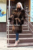 Шуба из бобра канадского с норкой, воротник стойка, фото 1