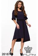 Тёмно-синее ассиметричное платье миди
