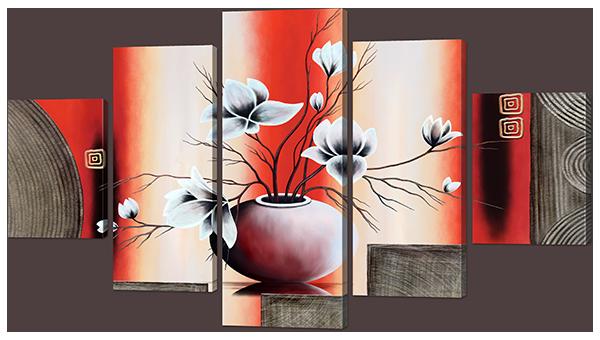 Модульная картина Interno Холст Ваза и цветы 142х80см (R910L)