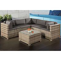 Угловой диван плетеный из ротанга, столик, фото 1
