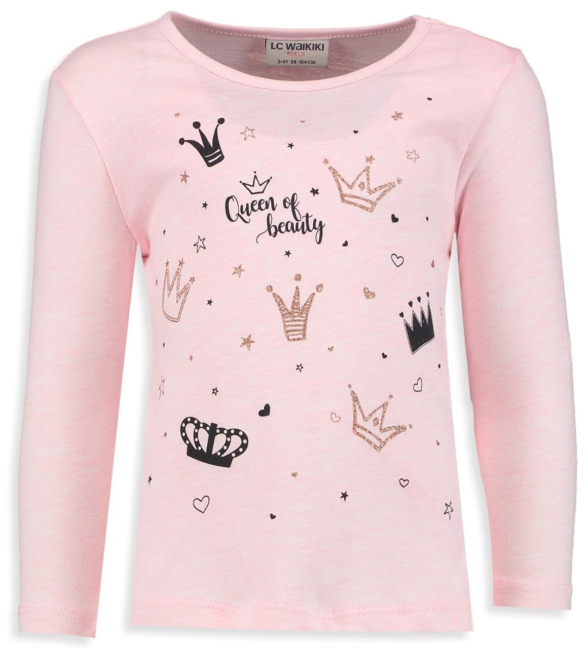 Розовый реглан для девочки Lc Waikiki / Лс Вайкики Queen if Beauty