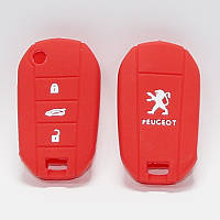 Чехол силиконовый для ключа Peugeot (3 кнопки,Красный)