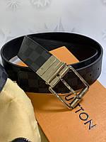 Кожаный ремень LouisVuitton с пряжкой-логотипом серебро (реплика)