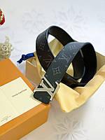 Шкіряний ремінь Louis Vuitton з пряжкою-логотипом срібло (репліка), фото 1