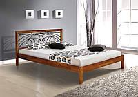 Кровать Карина кованое изголовье 160-200 см (орех темный)