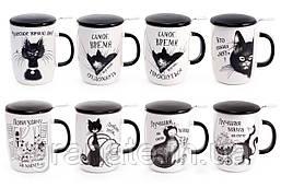 """Чашка заварник фарфоровый """"Черная кошка"""" с металлическим фильтром 450 мл, 8 видов"""