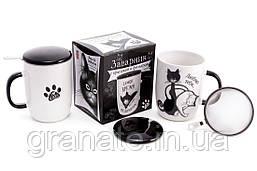 """Заварник фарфоровый """"Черная кошка"""" с металлическим ситом 450 мл, 8 видов"""