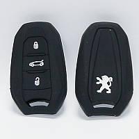Чехол силиконовый для ключа Peugeot 3008, 508 (3 кнопки,Черный)
