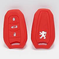 Чехол силиконовый для ключа Peugeot 3008, 508 (3 кнопки,Красный)