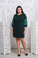 Шикарное зеленое платье с гипюром