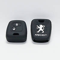 Чехол силиконовый для ключа Peugeot 206,207,307 (2 кнопки,Черный)