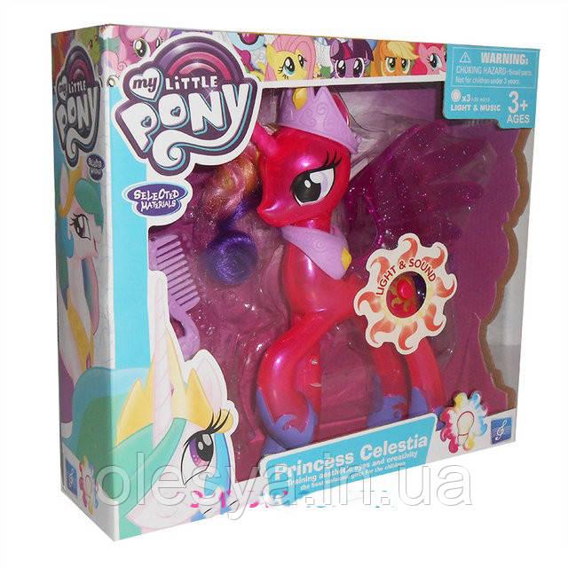 Игрушечная лошадка My little pony с расческой и аксессуарами. Светится, поет песенку