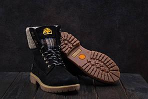 Ботинки Timberland (зима, нубук, черный)
