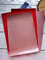 ЭКО-кожа Ярко-красная лаковая с глиттером на тканевой основе, 20х30см