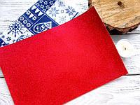 ЭКО-кожа Красная лаковая с глиттером на тканевой основе, 20х30см