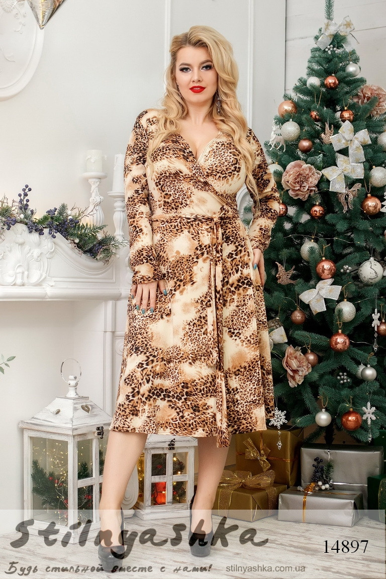 Большое леопардовое платье на запах, фото 1