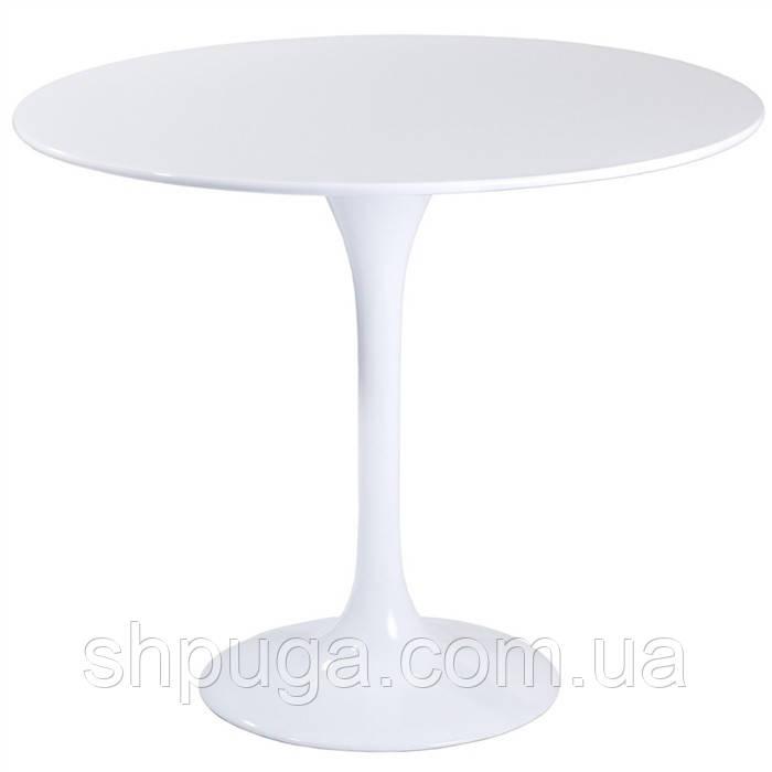 Стол обеденный Тюльпан, деревянный, диаметр   80 см, цвет белый