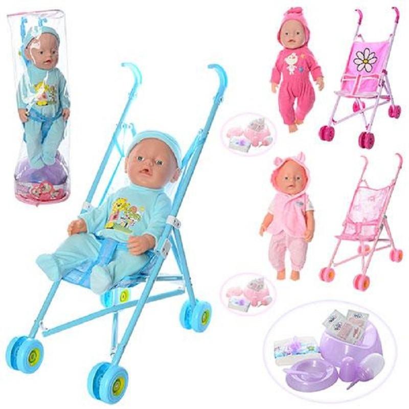Детская кукла пупс в коляске RT 07-02 CDZ-ABC интерактивная