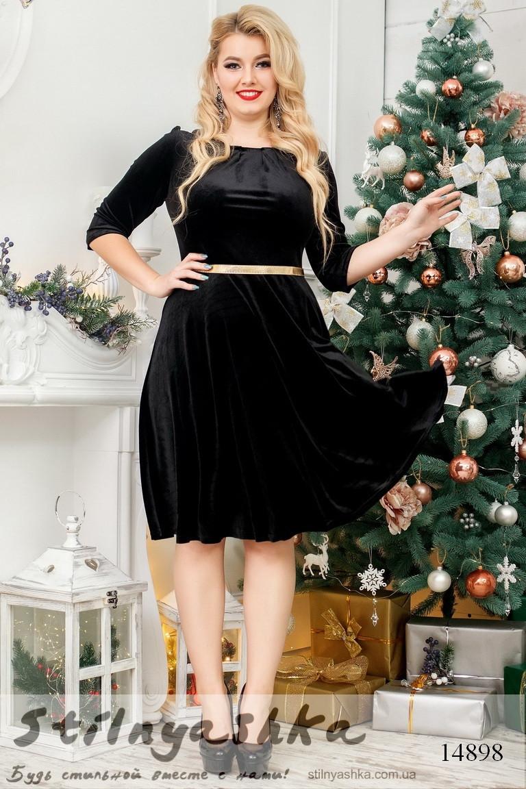 Бархатное расклешенное платье для полных  черное, фото 1