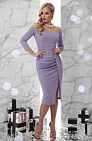 Вечернее приталенное платье с открытыми плечами, фото 1