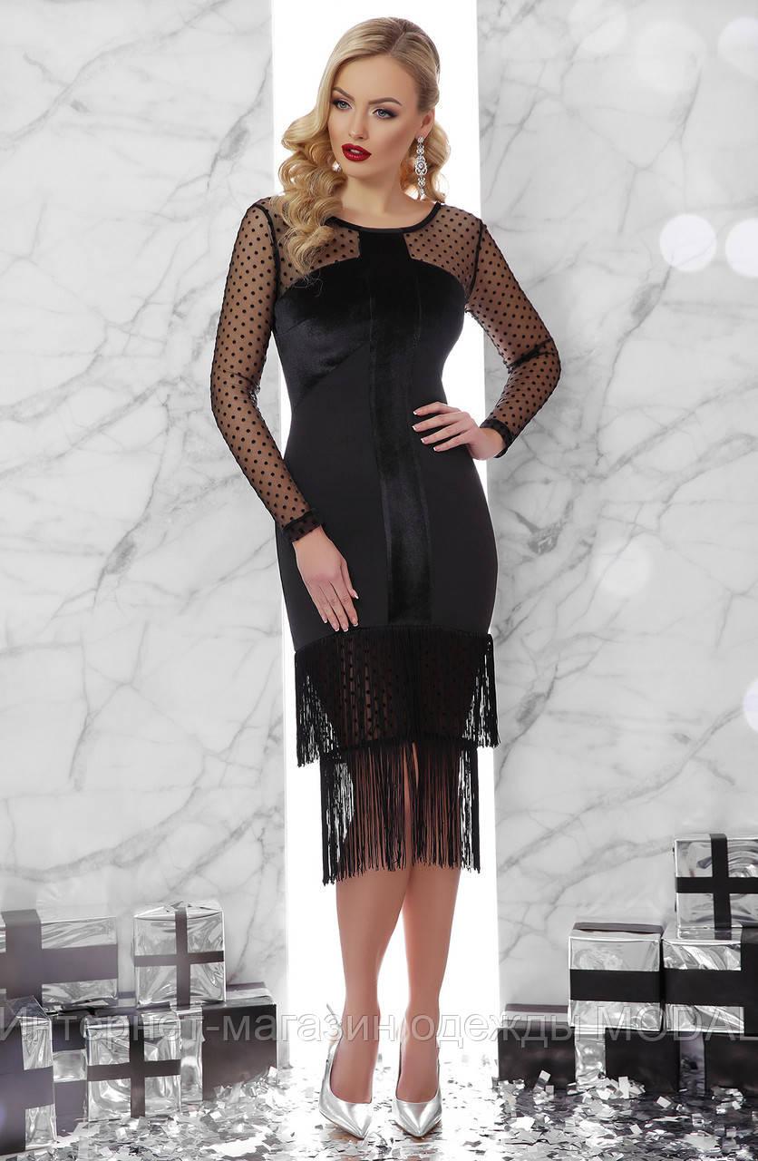 20738873efe Черное велюровое платье с бахромой - Интернет-магазин одежды MODAL в Киеве