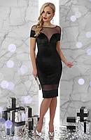 cbbe4ebeca1 Черное коктейльное велюровое платье по фигуре до колен с прозрачными  вставками из сетки Владана к
