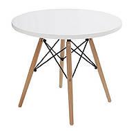 Стол обеденный Стефания, дерево, бук, диаметр 80 см, цвет белый