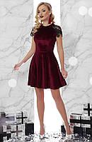Велюрове бордове плаття бебі-дол, фото 1