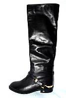 Модные сапоги женские зимние кожаные черные Basconiсо скидкой