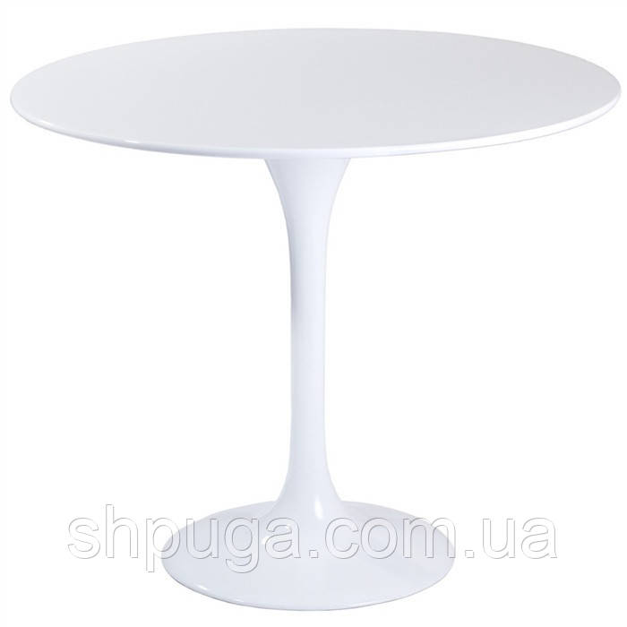 Стол обеденный Тюльпан М, деревянный, диаметр  80 см, цвет белый