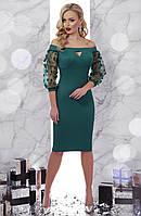 Зеленое платье с открытыми плечами, фото 1